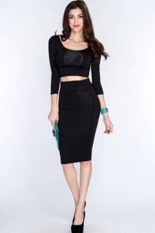 d1dee8f6b6 Black Pencil Skirt Crop Top Sexy Party Outfit | My style ...