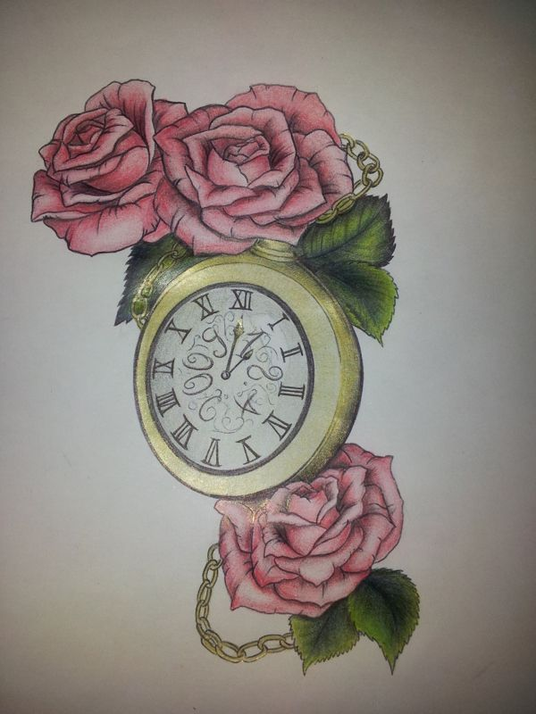 Roses and Clock Tattoo by Eileen Wagner, via Behance