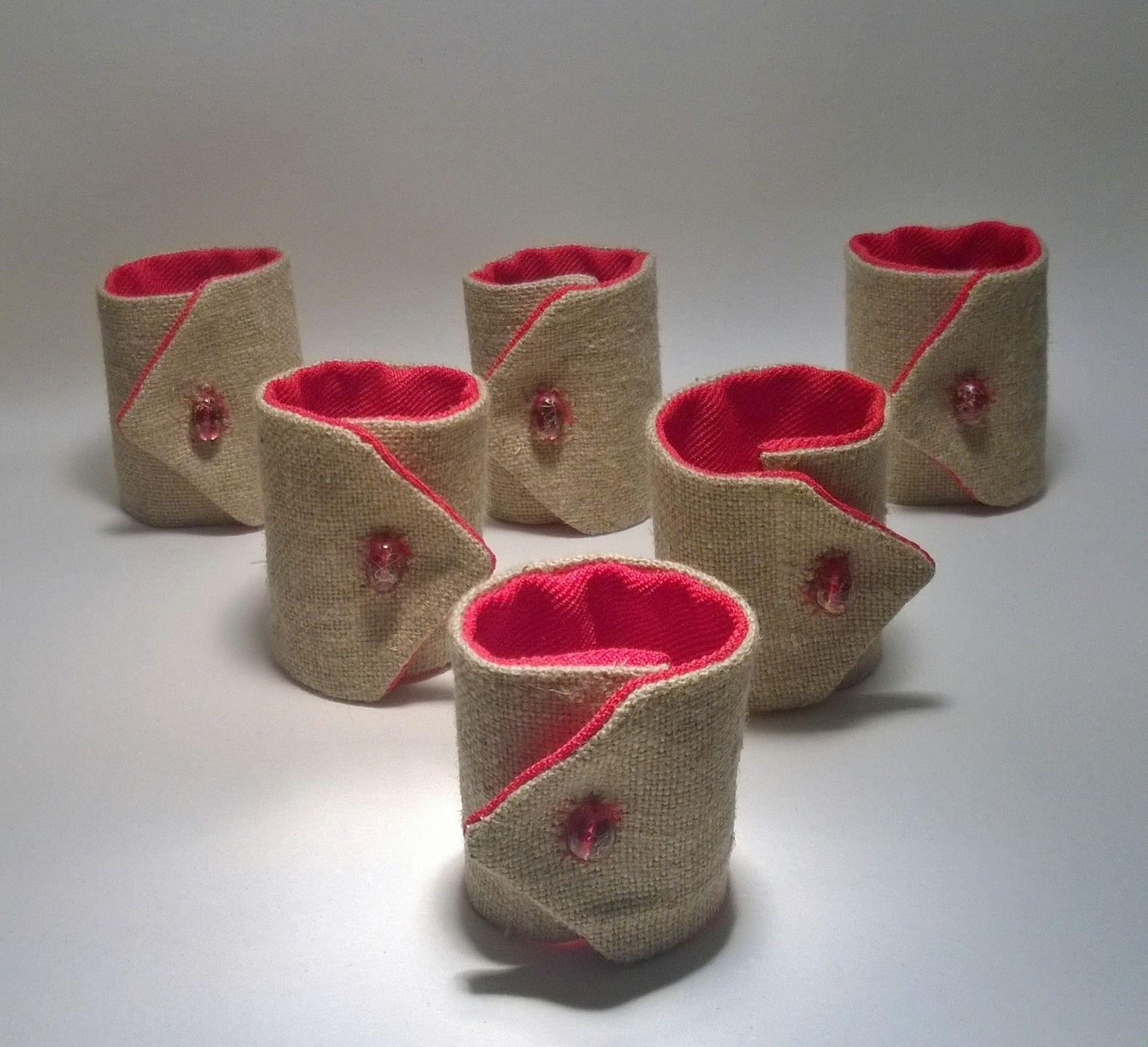 lot de 6 ronds de serviette en toile de jute et tissu rouge cuisine et service de table