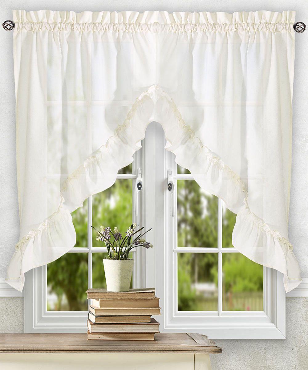 Cream Ruffle Swag Curtain