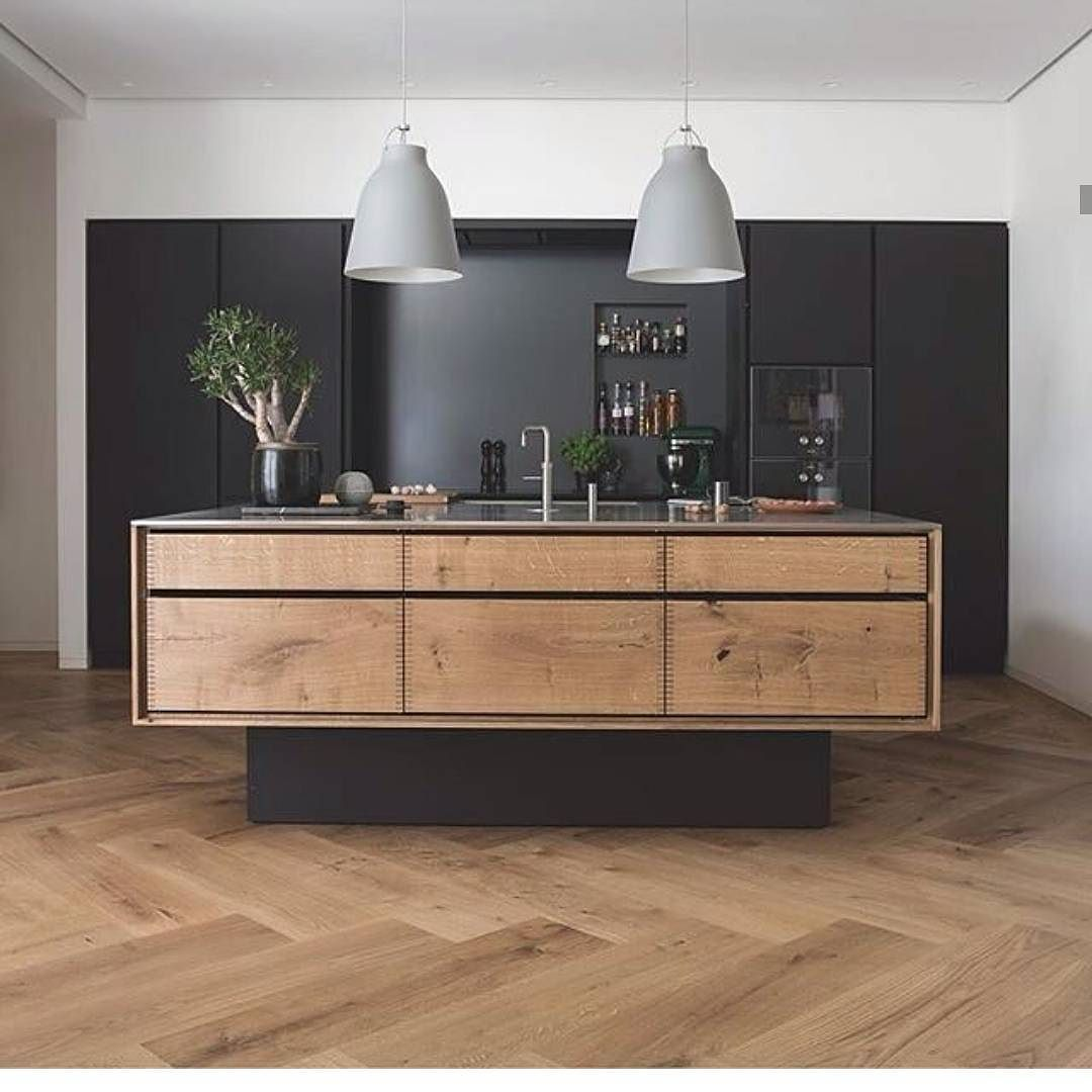 Kitchen island inspired by natural wood and matt black get your