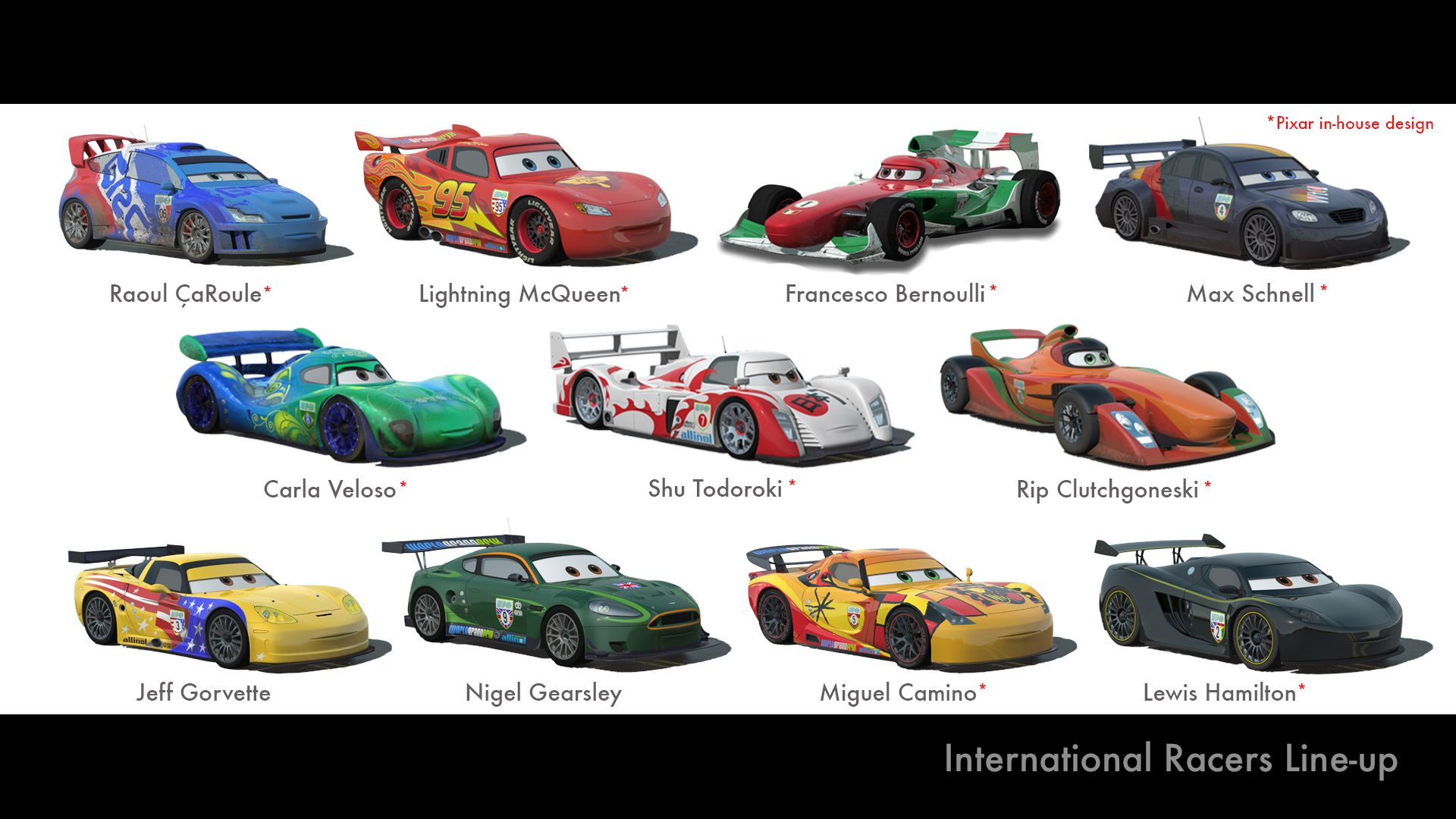 Cars 2 Names Cars 2 International Racers Line Up Disney Cars
