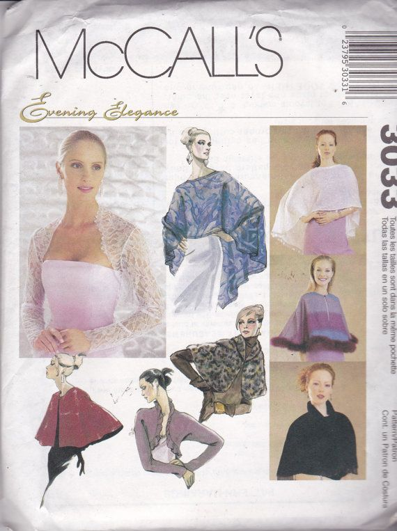 McCalls 3033 Evening Elegance Pattern Cover-Ups, Shrugs and Capelet ...