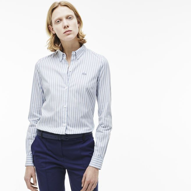 Slim fit shirt in striped stretch poplin