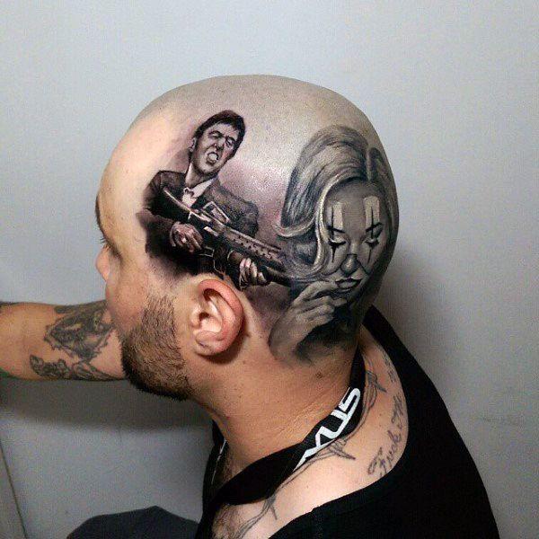 40 Scarface Tattoo Design Ideas For Men Al Pacino Ink Head Tattoos Hand Tattoos Tattoos