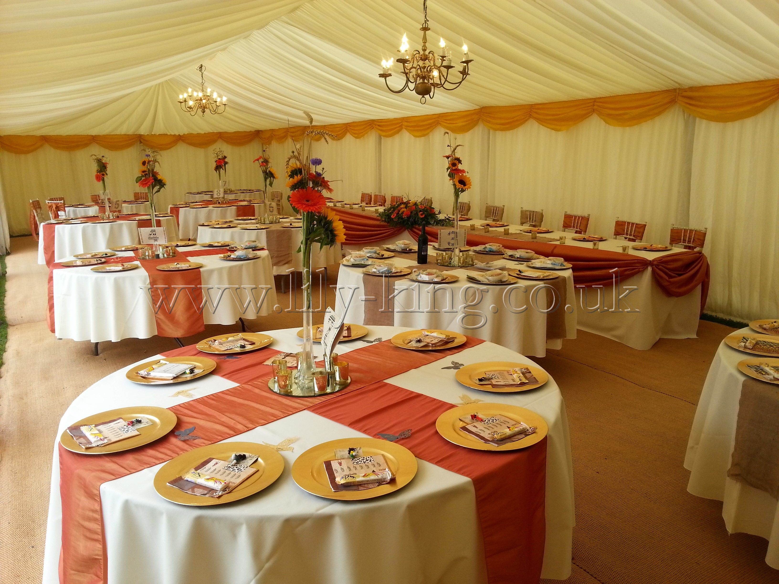 Burnt Orange Table Runners In A Cross Design By Lily King Weddings