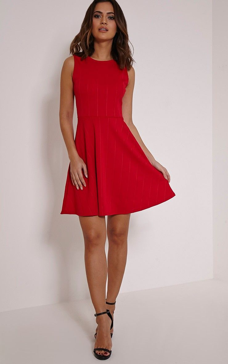 PrettyLittleThing #Dress Millie Red Bandage Skater Dress-12, Red ...