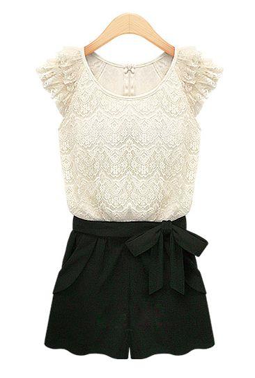 Socialite Mingle Lace Romper in Vanilla Cream/Black