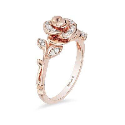 Enchanted Disney Belle 1 10 Ct T W Diamond Rose Ring In 10k Rose