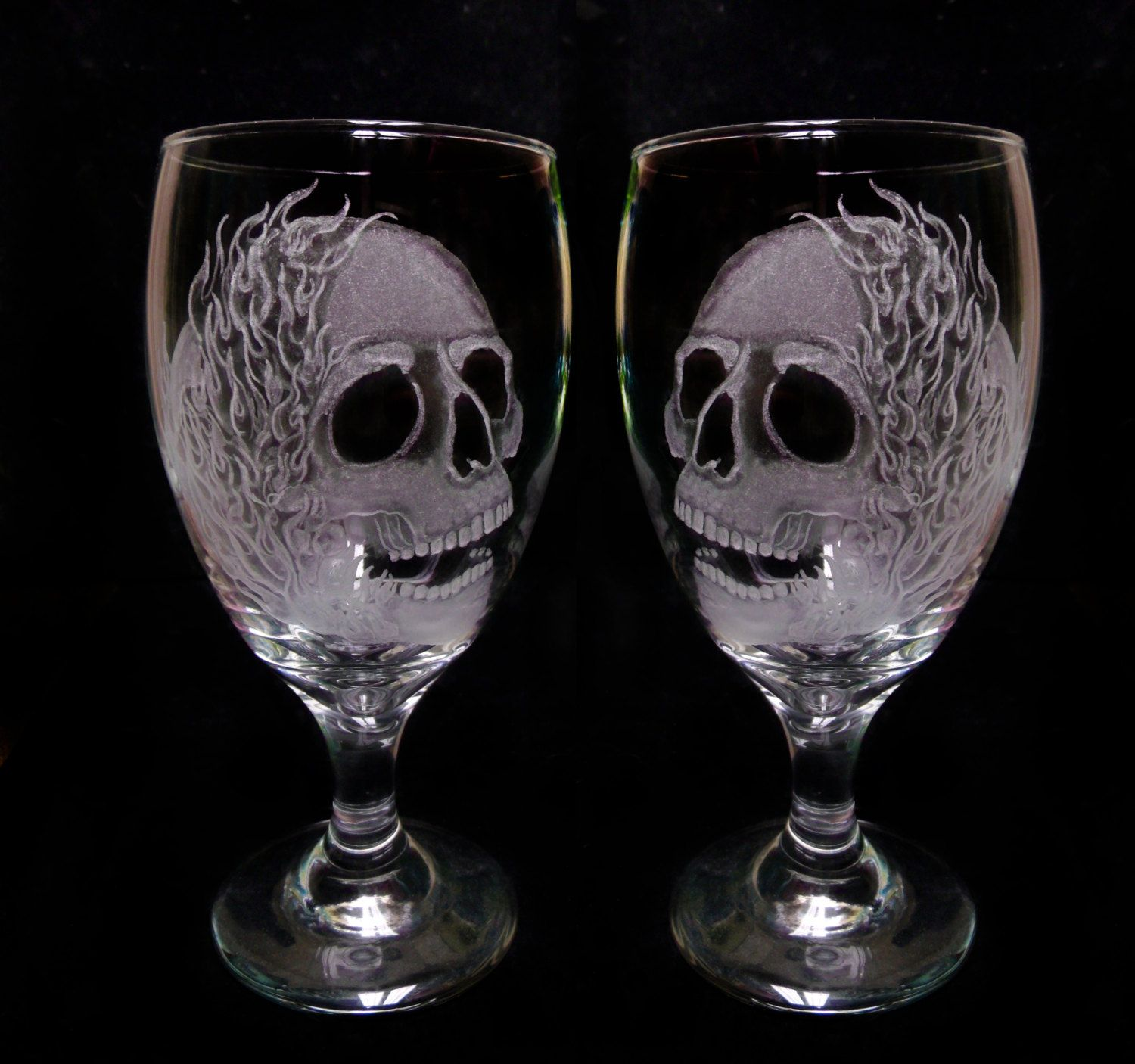 Wine Glasses Skulls And Flames Set Of Two Hand Engraved Glass Goblets Custom  Barware Gift Ideas