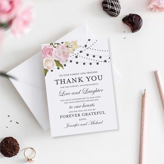 Thank You Note Template, DIY Wedding Thank You, Wedding Thank You