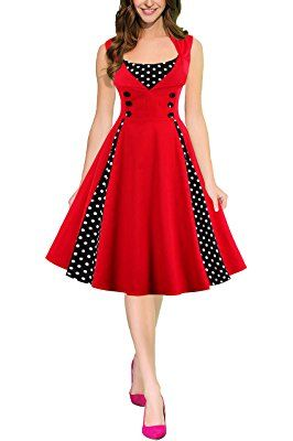 Women's Vintage 50s 60s Retro Rockabilly Picnic Swing Party Dress