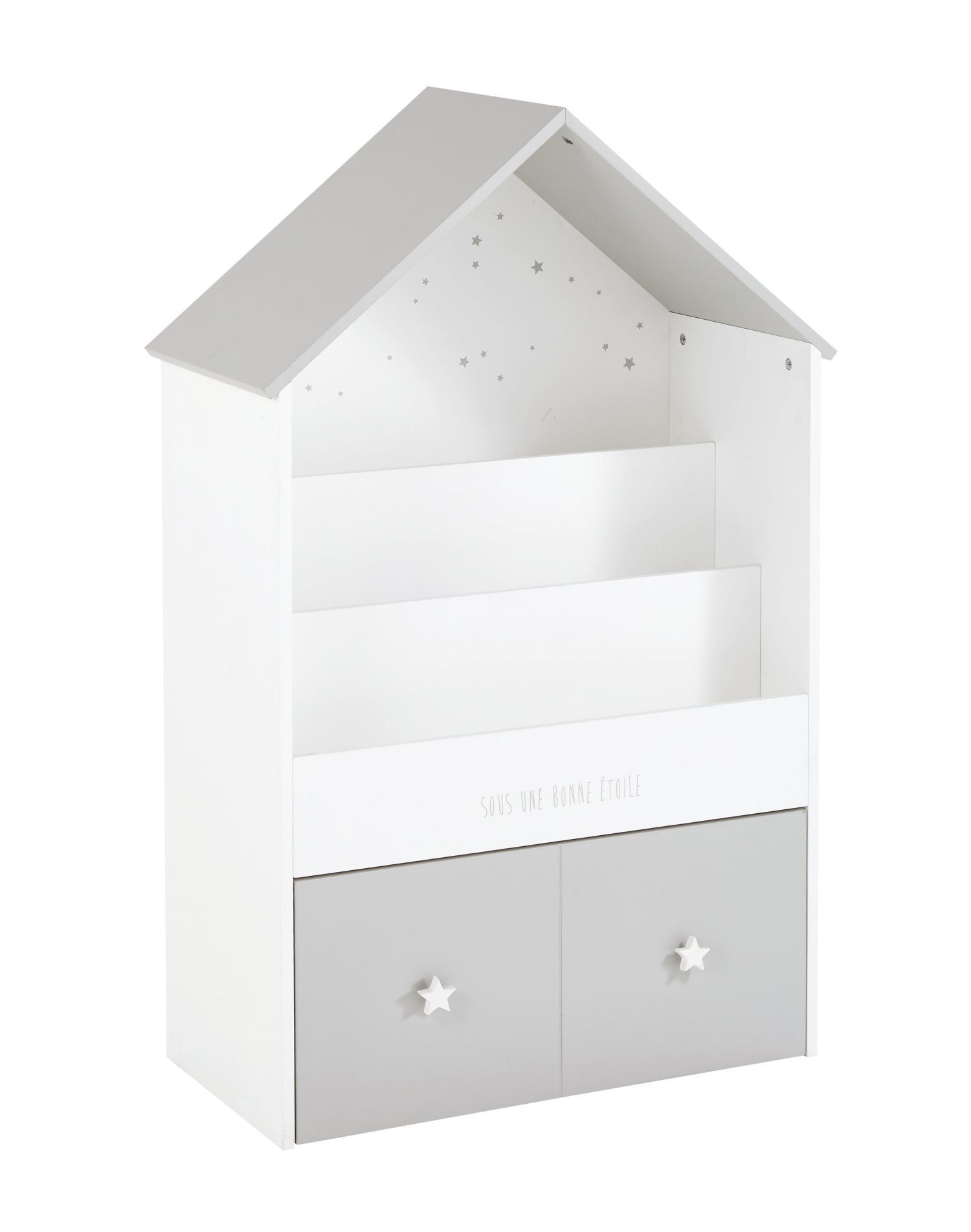 b cherregal in hausform f r kinder grau und wei in 2019. Black Bedroom Furniture Sets. Home Design Ideas
