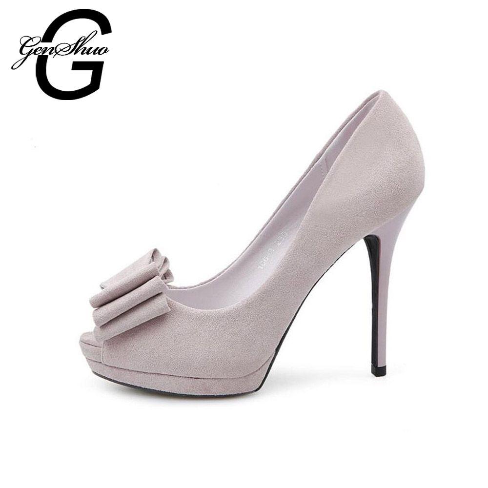 7177561d619 GENSHUO 11CM Sweet Summer Pumps High Heels Peep Toe Stiletto Dress Shoes  Platform Knot Flock Color