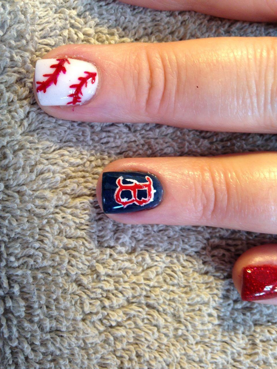 Allure Salon And Spa In Leominster Ma At Vagaro Com Red Sox Nails Boston Red Sox Nails Nails By Lisa