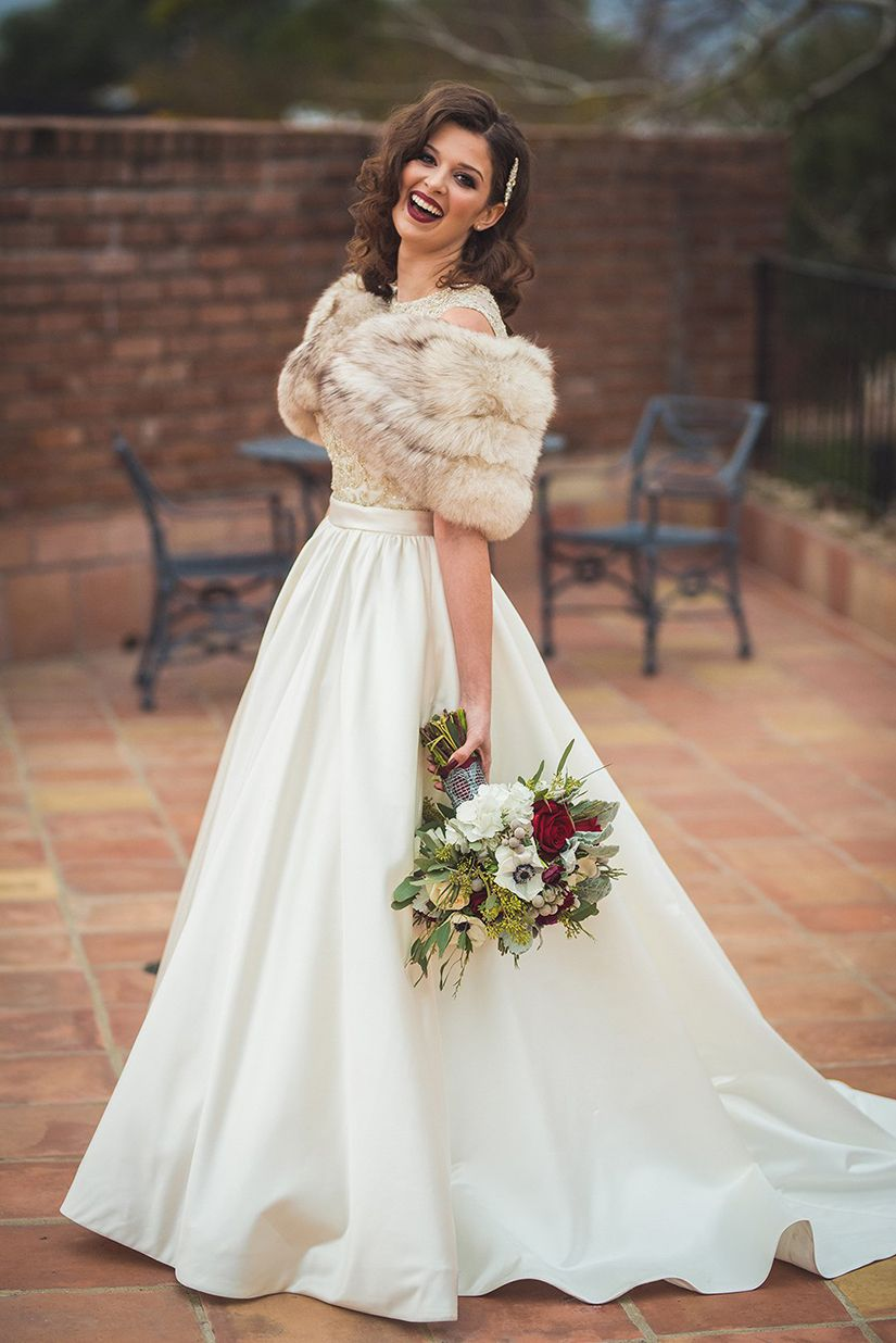 51adc9554 Winter Wedding Dress With Fur Stole - raveitsafe