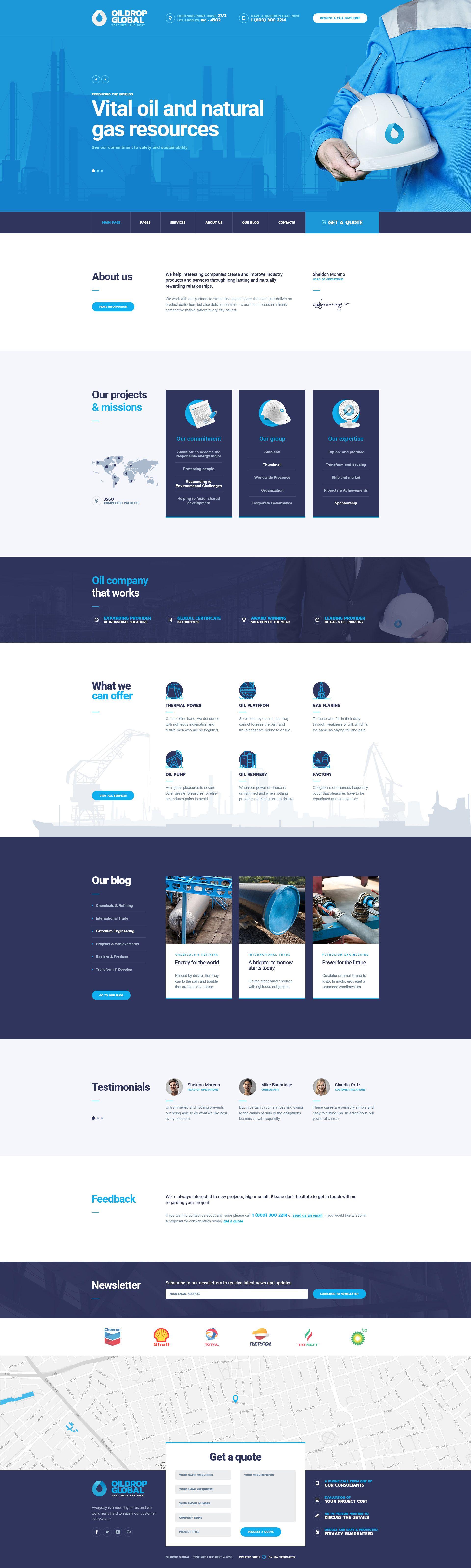Oildrop Oil And Gas Industrial Psd Template Web Layout Design Website Design Layout Web Design