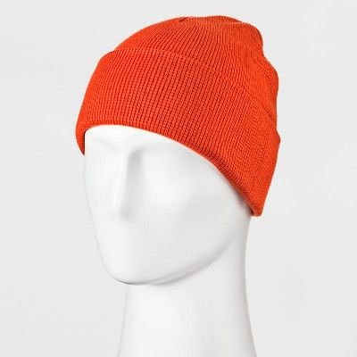 Men s Knit Cuff Beanie - Goodfellow   Co Rust (Red) One Size  81cd8db81f0e