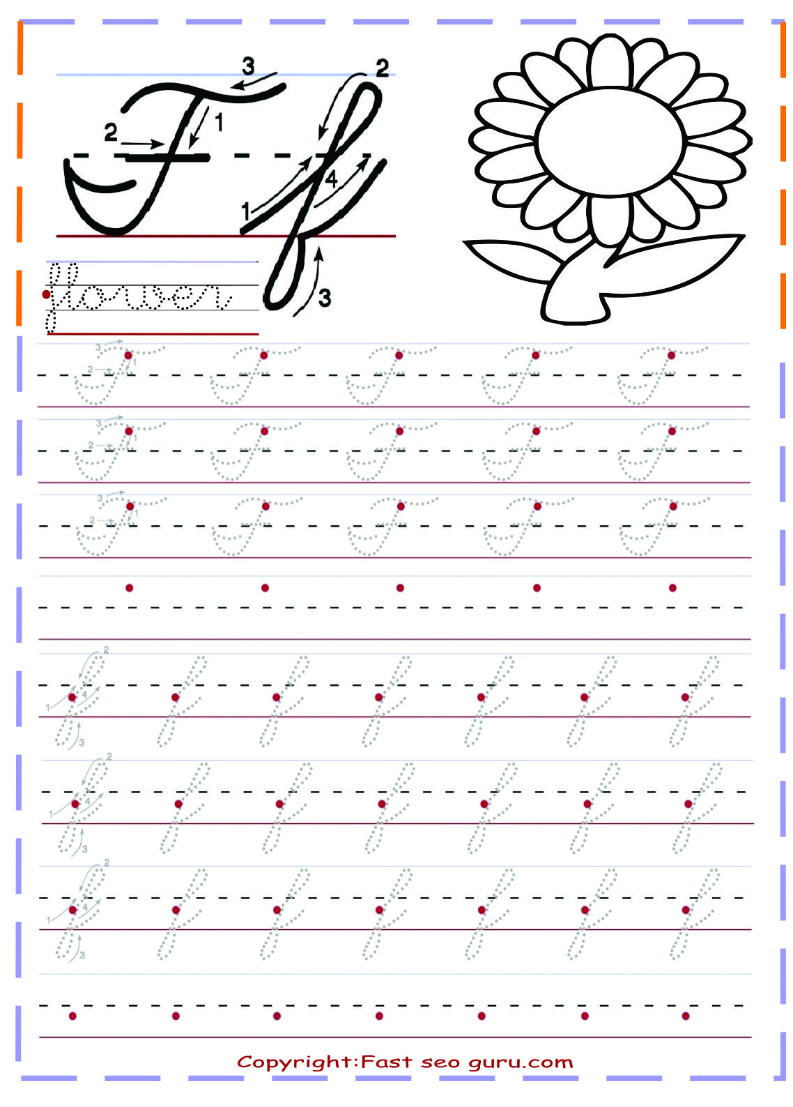 Cursive Handwriting Tracing Worksheets For Practice Letter