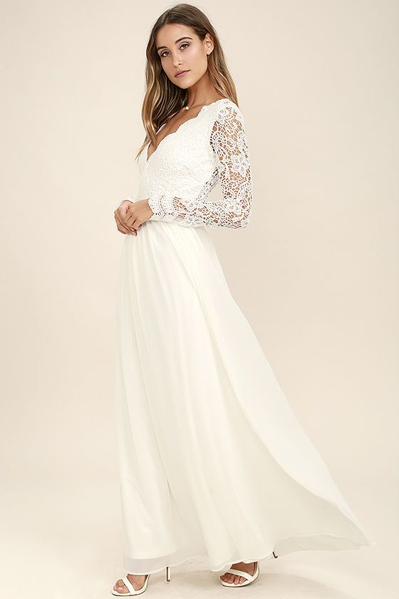 Open your eyes to a world of beautiful possibilities in the Awaken My Love  White Long Sleeve Lace Maxi Dress! Crocheted lace elegantly graces the  fitted ... 8dff6375e69e