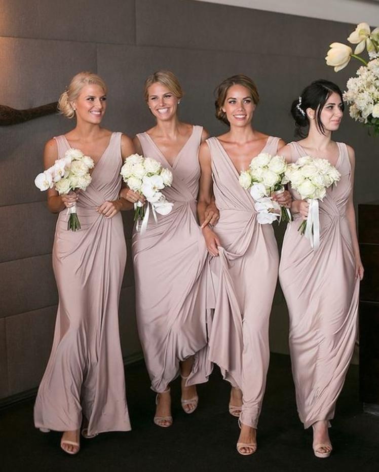 Elegant Bridesmaid Dress V Neck Sheath Dresses