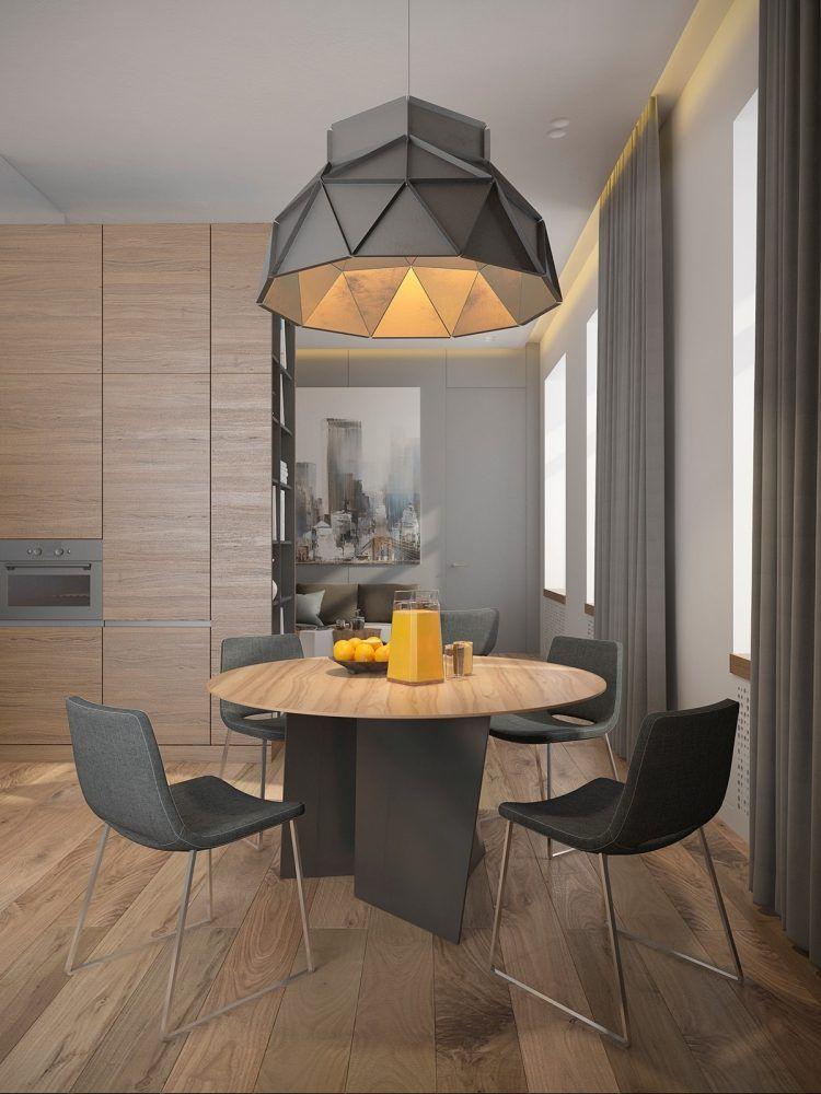 couleur gris taupe dans la salle à manger, rideaux assortis et lampe en suspension au design géométrique