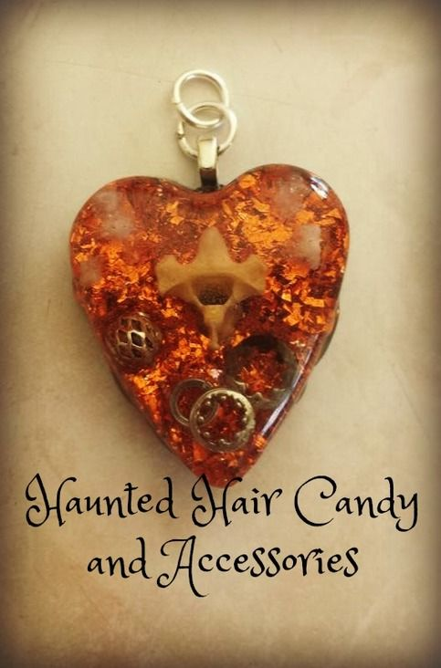 OOAK+One+Of+a+Kind  100%+Handmade  Gears+and+Bone Orange+Foil+Glitter Encased+in+Resin  On+black+cord+with+clasp  LIKE+on+Facebook https://www.facebook.com/hauntedhaircandy  Follow+on+Instagram+ http://instagram.com/hauntedhaircandy+  STORENVY+SHOP: http://hauntedhaircandy.storen...