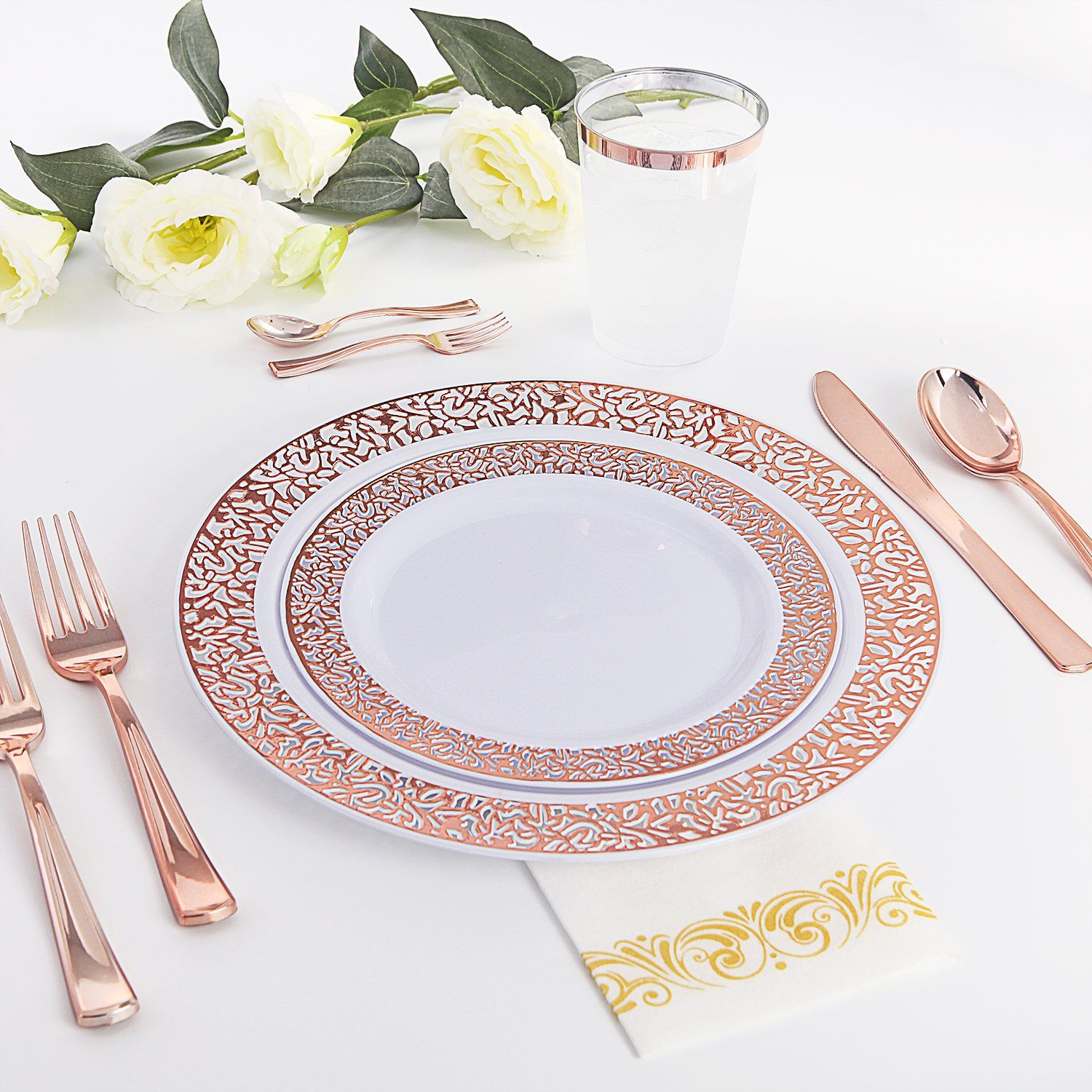 Plastic ROSE ROSE GOLD FORKS Disposable TABLEWARE Party Wedding Buffet SALE