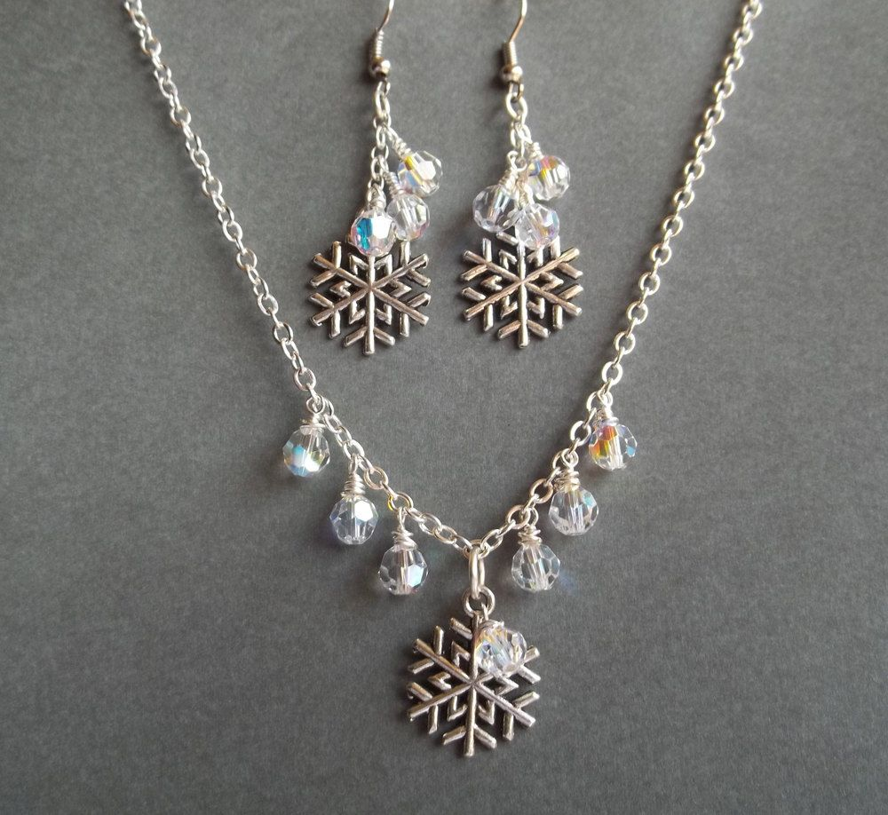 Snowflake Necklace Swarovski Crystal Beads Earrings Winter Wedding