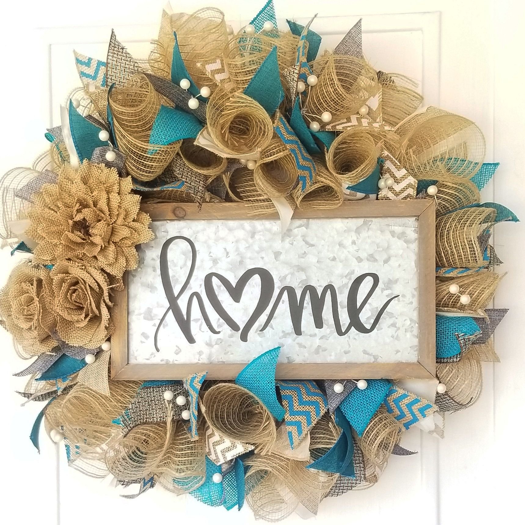 Photo of Beautiful Home Wreath, Everyday Wreath, Spring Wreath, Front Door Wreath, DecoMesh Wreath, Summer Wreath, Burlap Wreath, Turquoise and Beigh