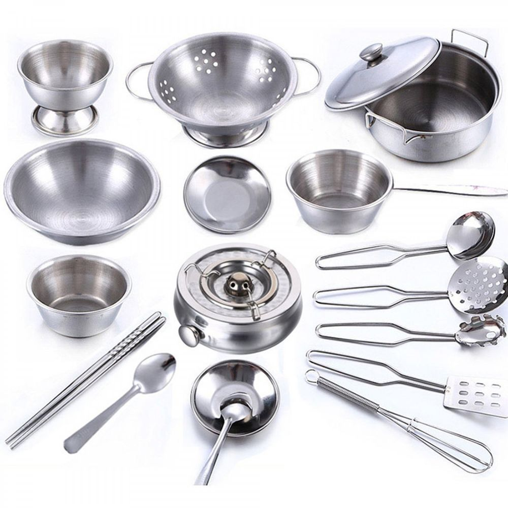 kitchen vessels set cabinets com cookware 18 piece cooking stainless utensils for home tools new unbranded