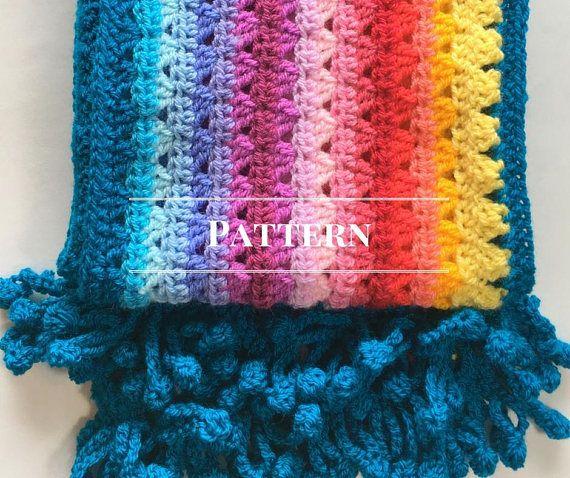 Beautiful Rainbow Stripe Crochet Scarf Pdf Pattern 497 For This