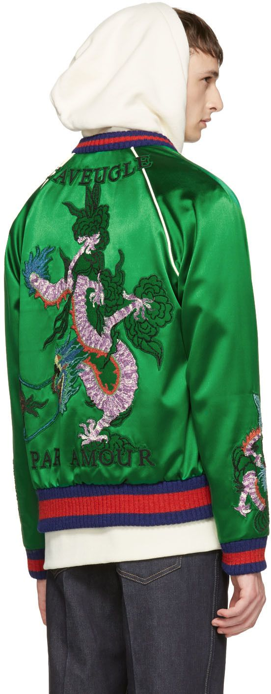 Gucci Blue Embroidered Silk Bomber Jacket In Blue W91a3441KT41 For Mens  larger image
