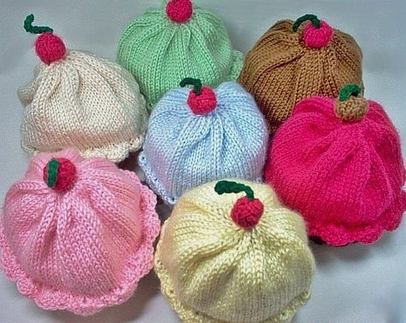 Adult Size Cupcake Hat - Hand Knit Handmade - Choose your Colors for ...