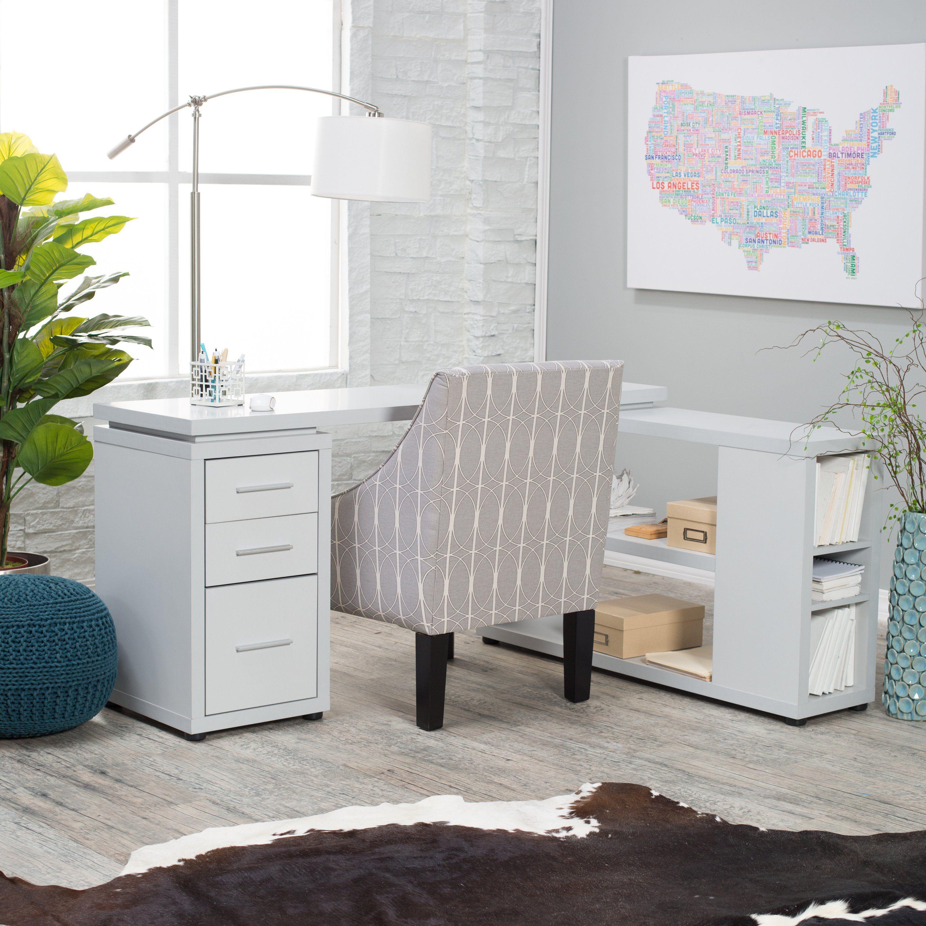 Hudson LShaped Desk Gray Designed for the modern