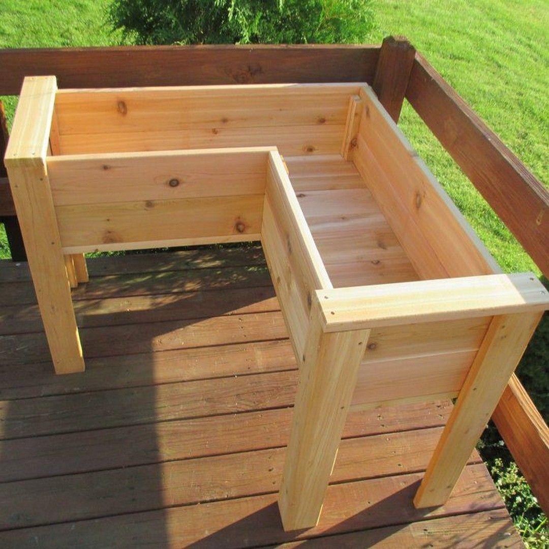 Excellent 50 Diy Corner Wood Planter Raised Garden Bed In 2020 Raised Garden Beds Diy Raised Garden Garden Beds