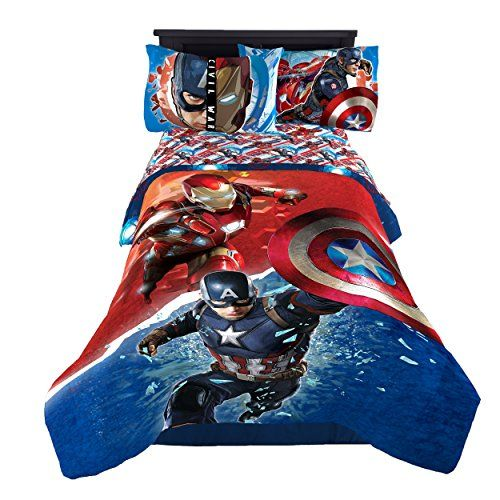 Transform Any Child S Bedroom With A Bold And Colorful Marvel Captain America Civil War Warriors Reversible Twin Avengers Bedding Civil War Marvel Comforters