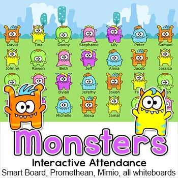 Monster Theme Interactive Attendance for All Whiteboards and - attendance sheet for students