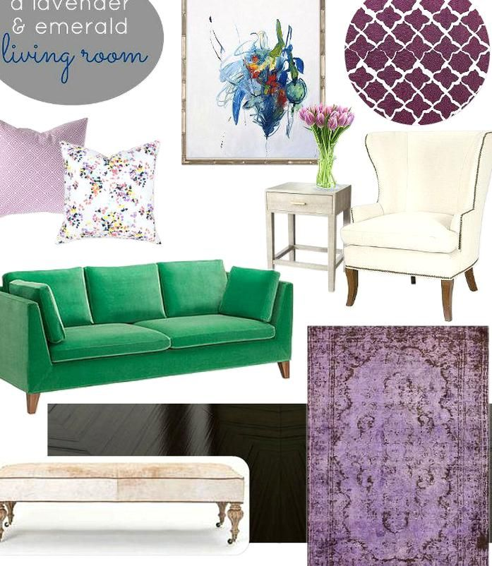 emerald green rooms   August Inspiration Board Challenge A Lavender  Emerald Living Room