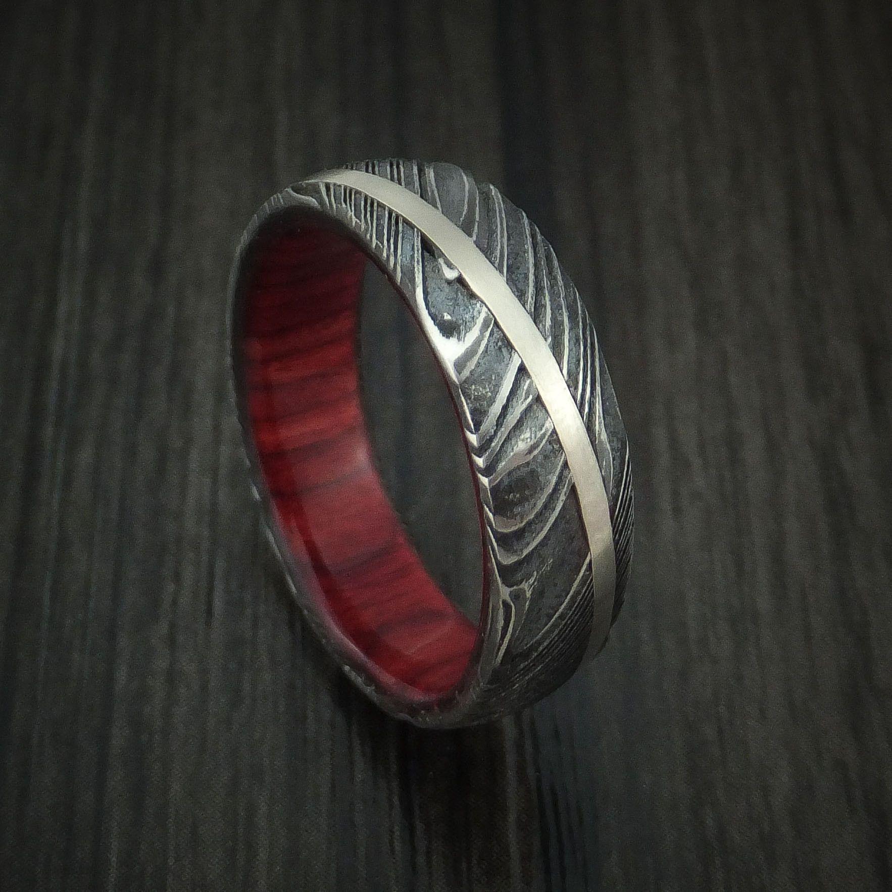 Kuro Damascus Steel Diagonal 14K White Gold Ring Wedding Band Wood