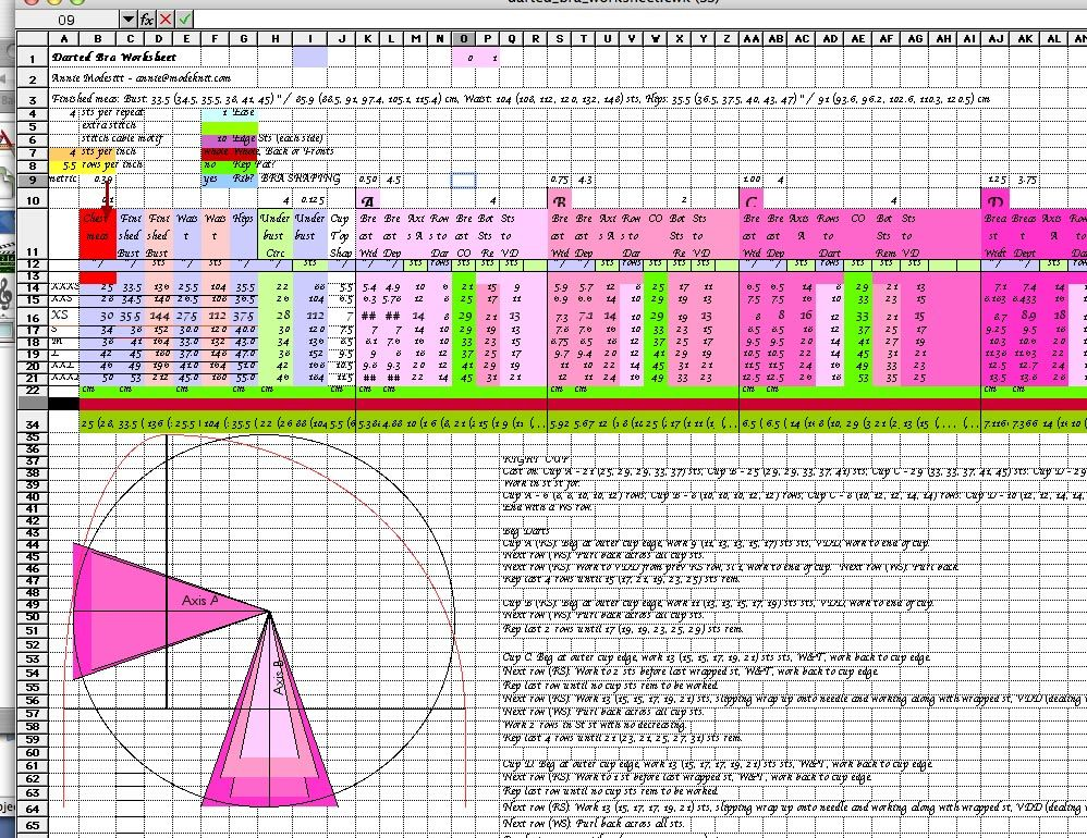 Chart for a braexcel eg Knit-alongs Pinterest Patterns - sample spreadsheet