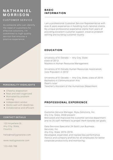Grey Minimal Customer Service Resume Business\/Resume\/Portfolio - customer service resumes