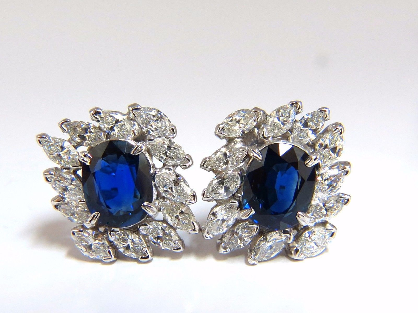 GIA Certified 11 16ct Natural Royal Blue sapphire diamond earrings