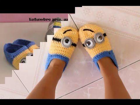 Pantunflas Minions #minioncrochetpatterns