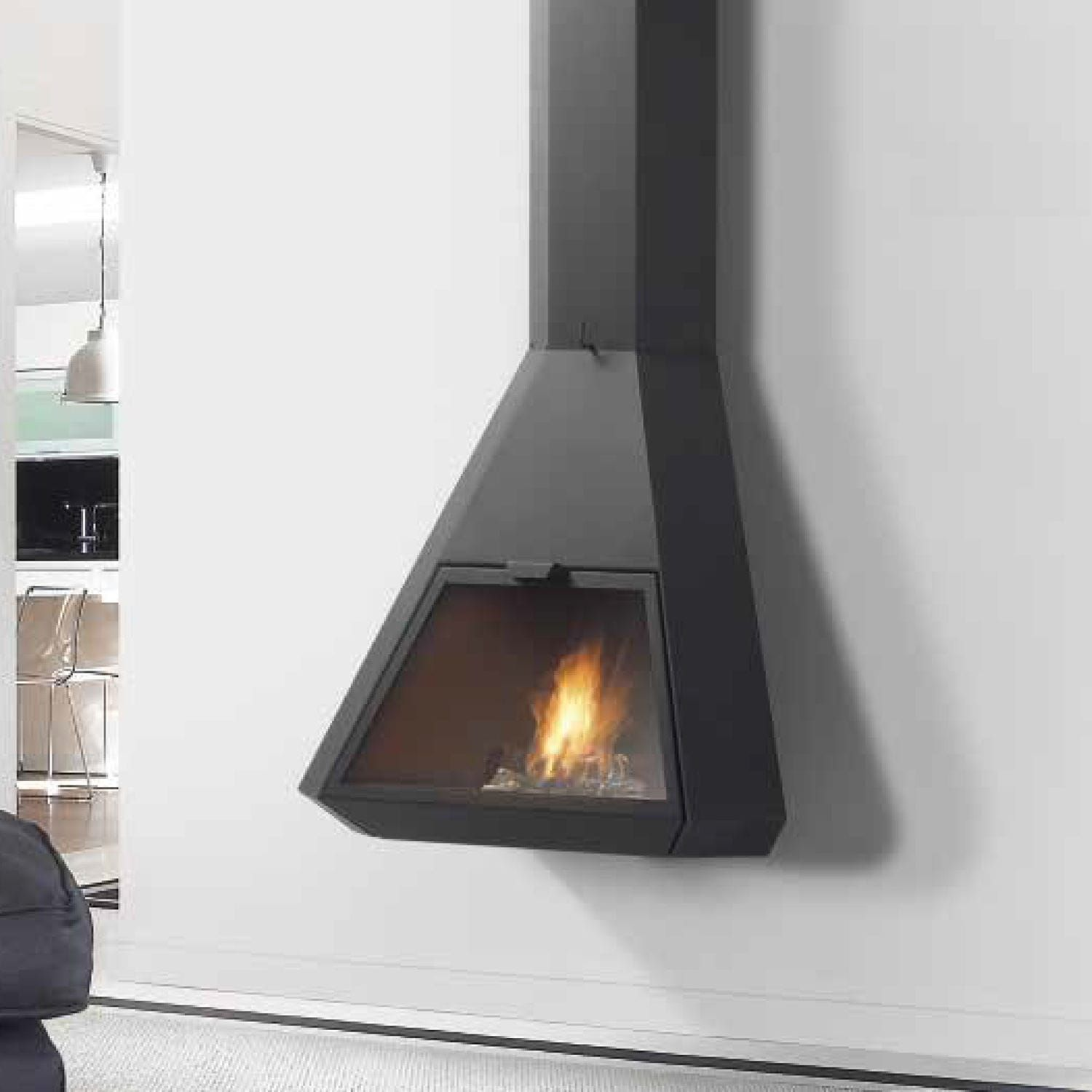 Wood Fireplace Contemporary Closed Hearth Wall Mounted Arion