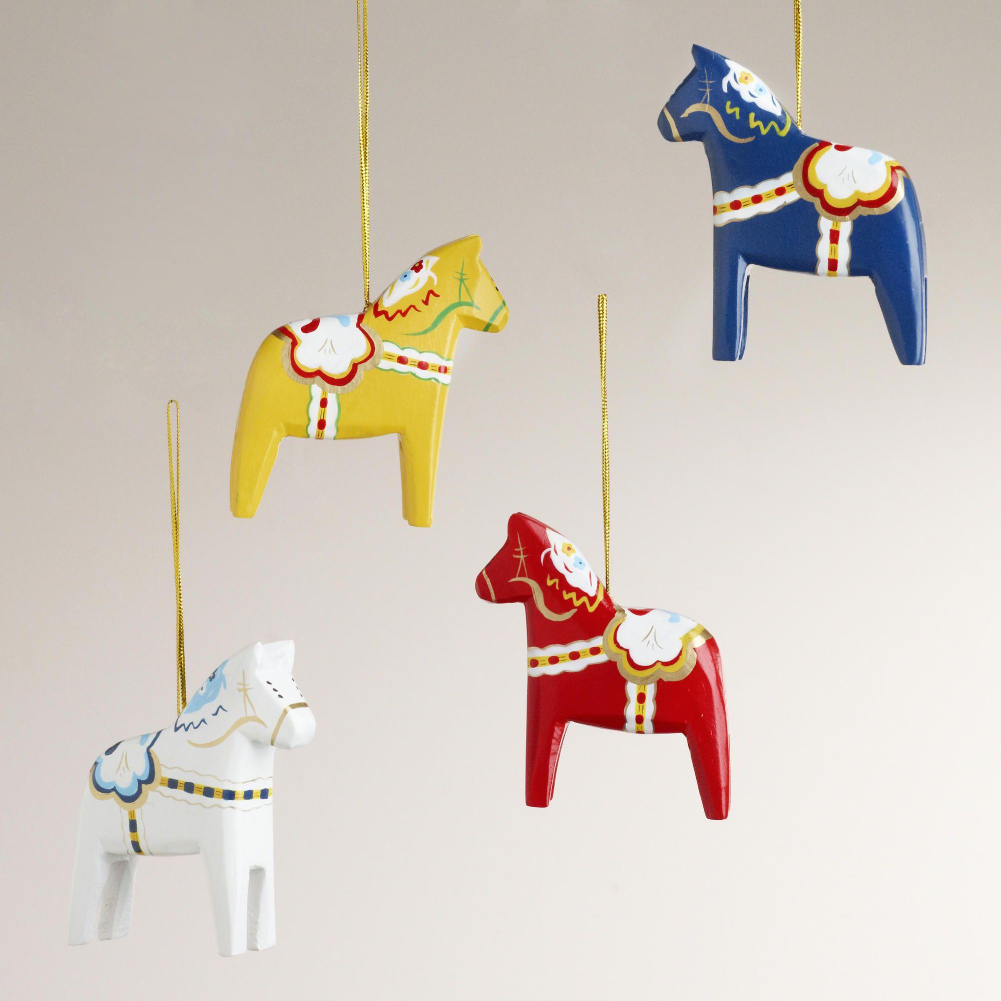Wood Swedish Horse Ornaments Set Of 4 World Market Horse Ornaments Scandinavian Christmas Horse Crafts