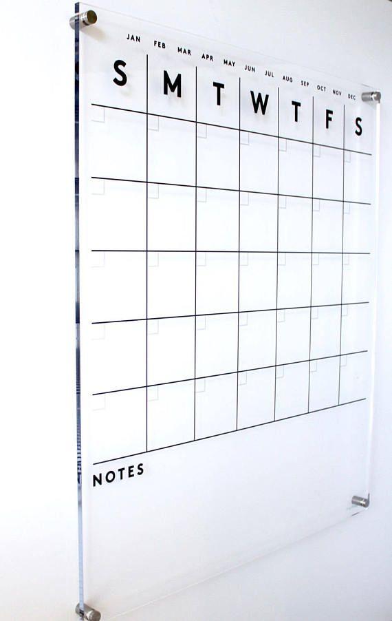 Acrylic Calendar Notes On The Bottom Premium Dry Erase Calendar