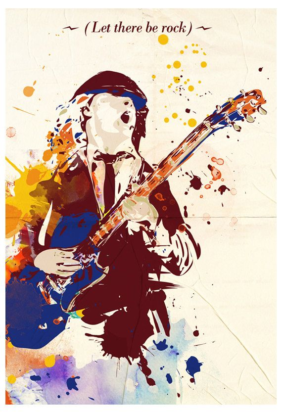 angus young acdc pop art style hard rock music poster. Black Bedroom Furniture Sets. Home Design Ideas