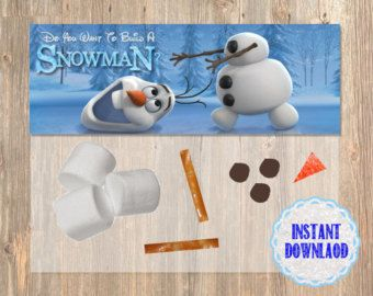 Do You Wanna To Build a Snowman? Frozen Favor Bag Toppers - Disney Frozen Birthday Printable for Party Treat Candy.  Birthday Supplies.