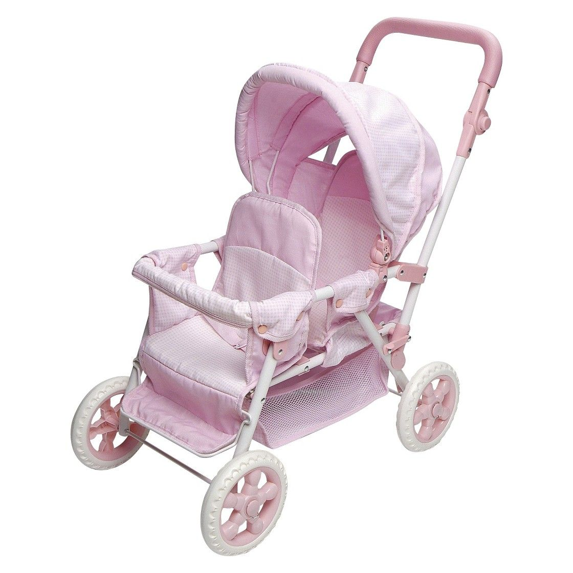 Badger Basket Double Doll Stroller Pink & White Gingham